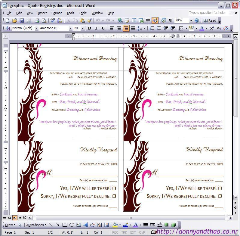 Diy Invitation Enclosure For Reception And Rsvp Plan In Word