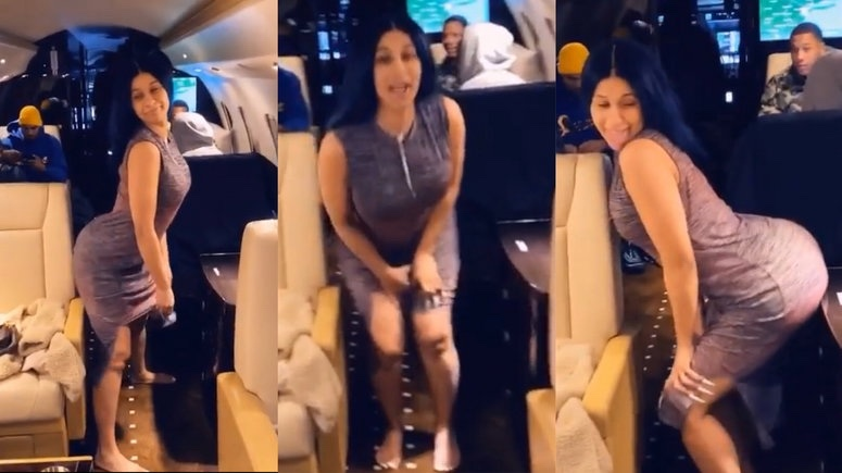 """Cardi B is a whole mood as she dances to a yet to be released """"Fall"""" remix with Davido on her way to Nigeria/Ghana"""