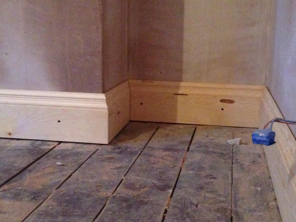 fresh plaster in corners