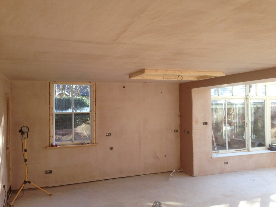 Freshly plastered room and extension