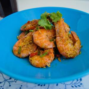 Fried Pepper Prawns with Minced Garlic