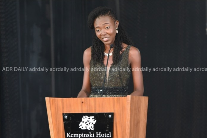 Barbara Amissah (Director of Human Resources) delivering a speech at the awards night