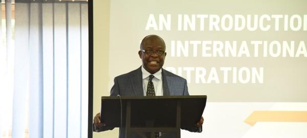 Mr Michael Gyang Owusu making his presentation