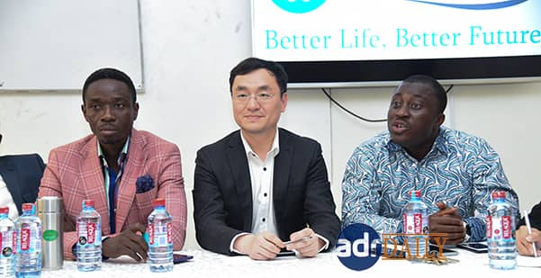 Mr Nick Owusu (right) making his remarks, while Mr Mr Andrews Asare (left) and Mr Leon Li look on