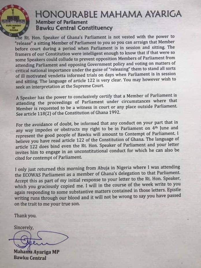 Mr Ayariga's letter 2