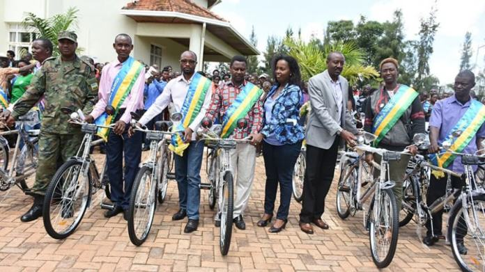 Some of the mediators pose with their bicycles in Rwamagana District