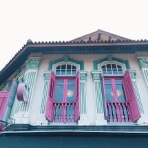 Colourful colour street city Singapore shophouse architecture design