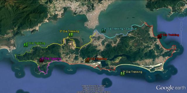 Mapa Trekking Volta à Ilha de SC - Adrenailha