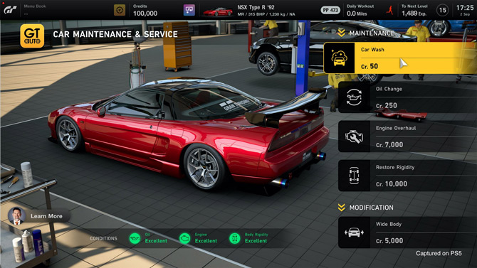 Up-to-date vehicle maintenance on GT7