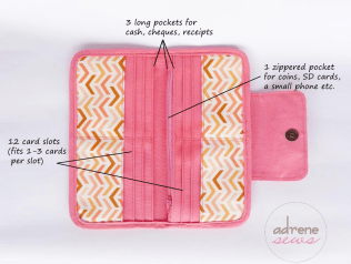 coral pink wallet open