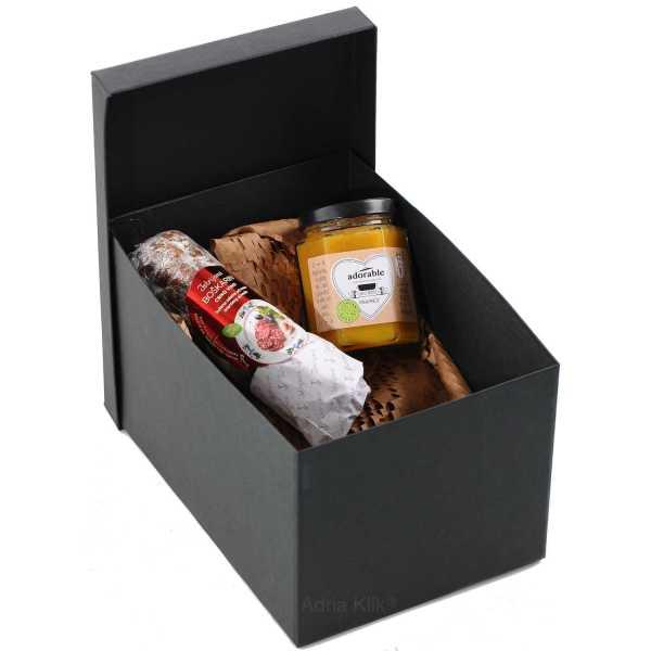 Boškarin Crno Vino Teran Istarska Premium Salama 200g. Azrri Organic Pekmez od Organske Naranče 180g Adorable Crna Poklon Kutija s Poklopcem Dekoracija