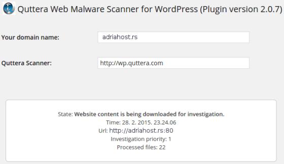 quttera web malware scanner prikljucak za wordpress