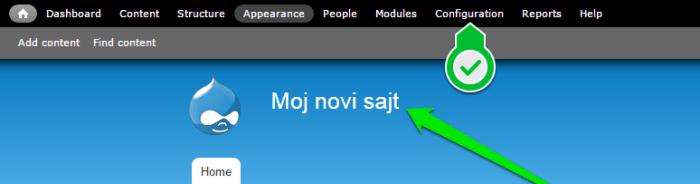 Drupal podesavanja izmena imena sajta slika 1