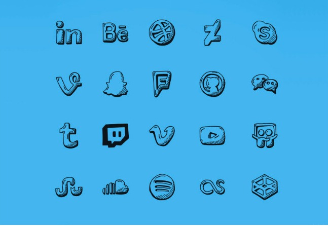 hand drawn social icons free