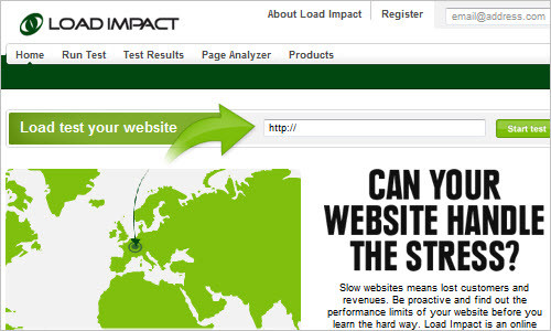 Load Impact: Website load / stress test