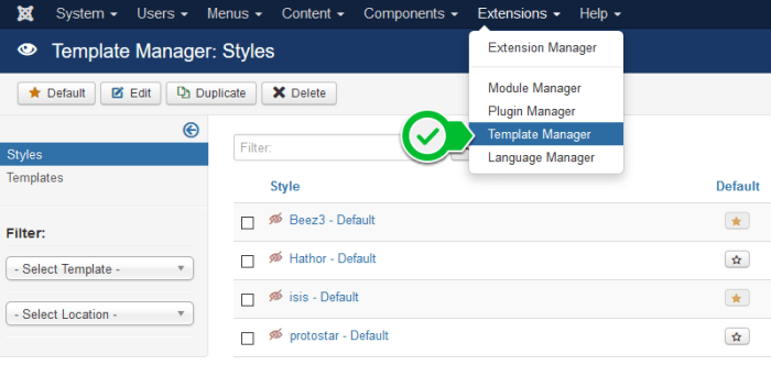 Joomla - template manager