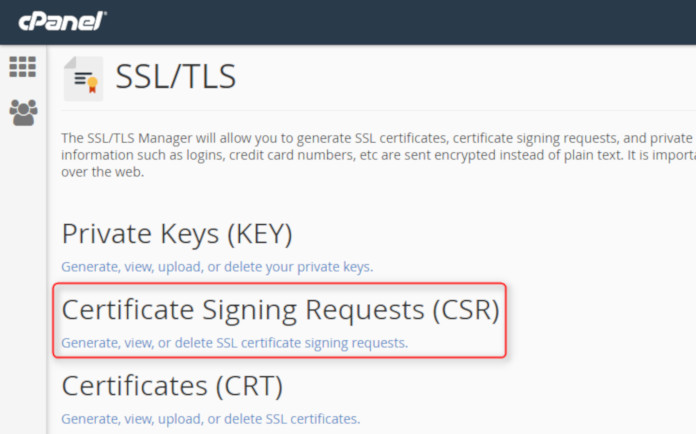 ssl tls cpanel certificate signing requests