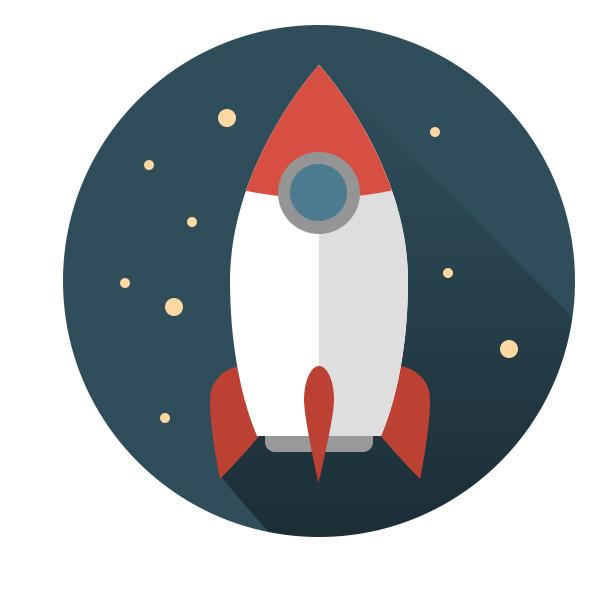 Flat ikonica rakete - Adriahost blog tekst