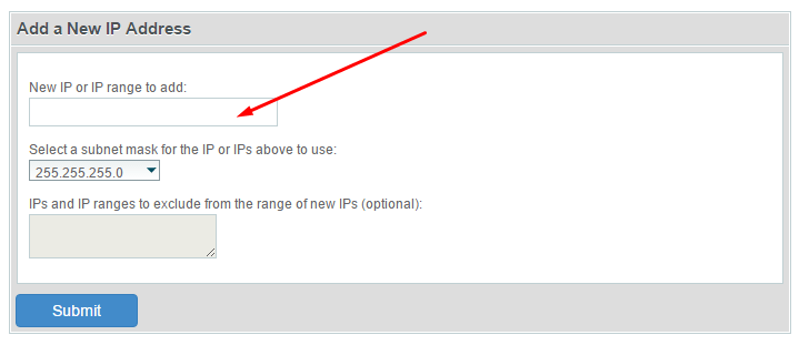 add new IP address to server whm/cpanel