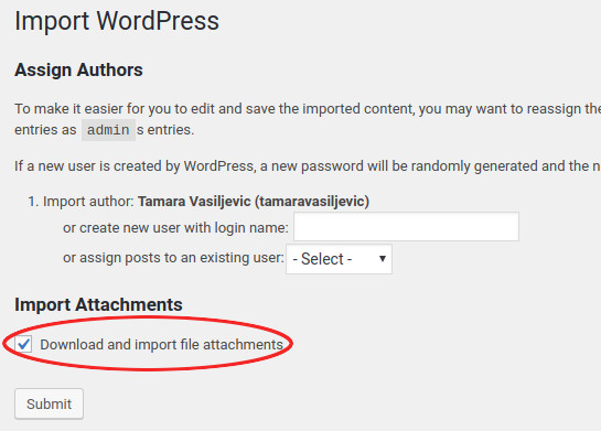 import migrate wordpress