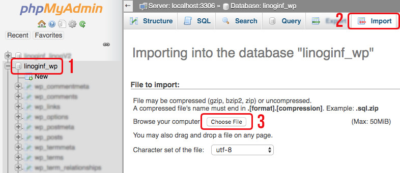 импорт базе података