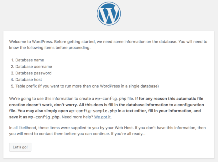 install wordpress step 1