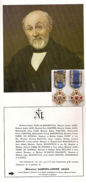Partie du portrait de Gabriel Azaïs, avec au revers l'insigne de sa décoration roumaine, citée dans le faire-part de son décès, reproduit ci-dessous.