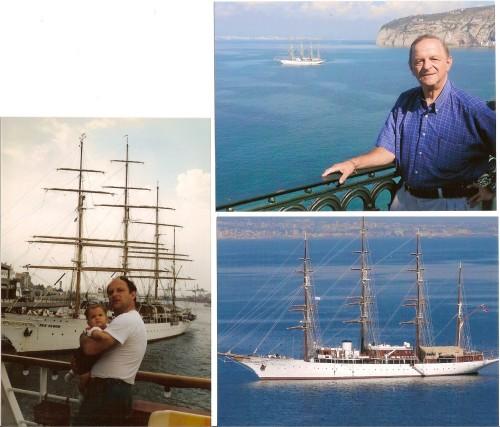 """Faimosul """"Sea Cloud"""" în portul Pireu (1988) și în golful din Sorrento (2014)"""