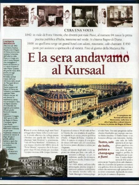 Un articolo illustrato che ricorda la storia dei bagni Diana pubblicato nella rivista Dove del 1998