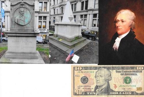 Alexander Hamilton și mormântul lui piramidal, alaturi de cel al lui Robert Fulton