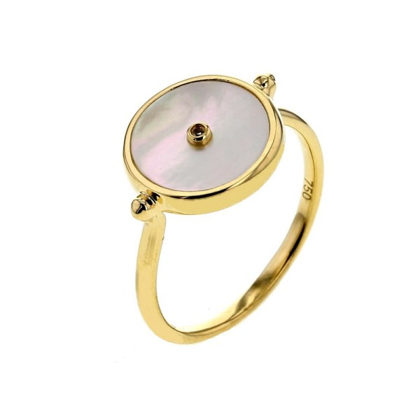 Diamond ring Token in mother of pearl ring with a diamond in 18 K gold Bague jeton en nacre et diamant