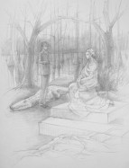 """The Encounter"", Adriana Burgos, silverpoint on plike paper, 8"" x 10"", 2014"