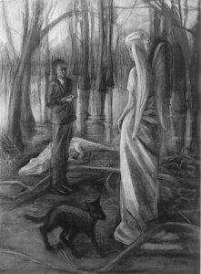 """Encounter"" Adriana Burgos Charcoal on paper 29""5 x 40"", 2016"