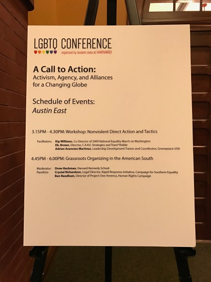 [Image Description: A sign posted in front of a class room that has a schedule of events at the Harvard LGBTQ Conference]