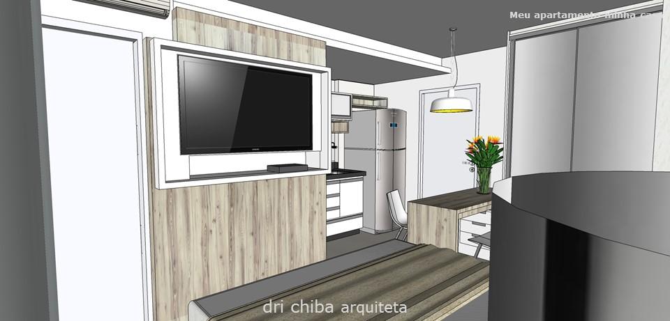 Vista do Painel da TV e cozinha