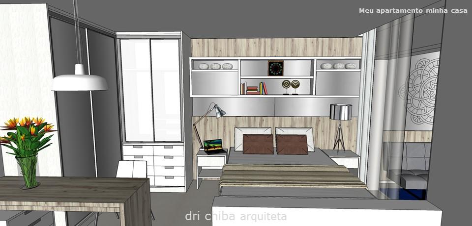 Vista do closet e da cama