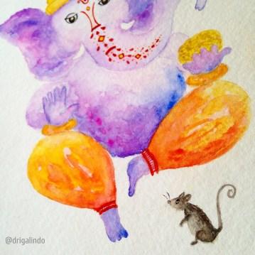 Ganesha, aquarela s/ papel 18 x 13 cm. Sold