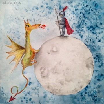 São Jorge, aquarela sobre papel, 30,5x30,5 cm - Sold