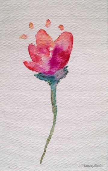 Flor, aquarela, 16,8 x 10,7. Disponível . Available