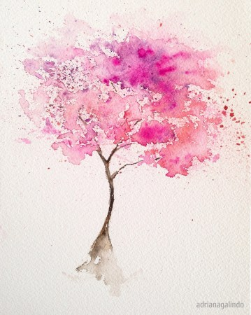 Pink tree, tree 2, 21 x 15 cm. Sold