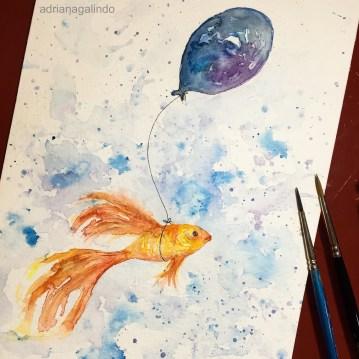 Fish, Watercolor / aquarela 21 x 15 cm. Available / disponível