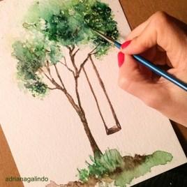 Árvore 28 tree 28, aquarela, watercolor , 15 x 21 cm. Disponível / Available
