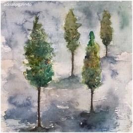Pinheiros 32, Pine trees n.32, aquarela / watercolor. Available
