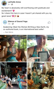 LaChelle Amos Facebook post showing her reading of book on kindle