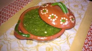 Salsa verde with tomatillos, serrano chiles and garlic
