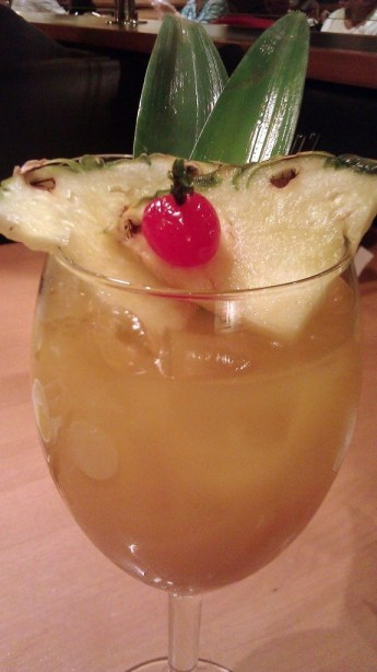white sangria with coconut rum, pineapple juice, white wine