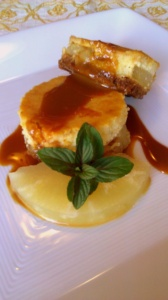 cheesecake with philadelfia cheese, pineapple and caramel sauce
