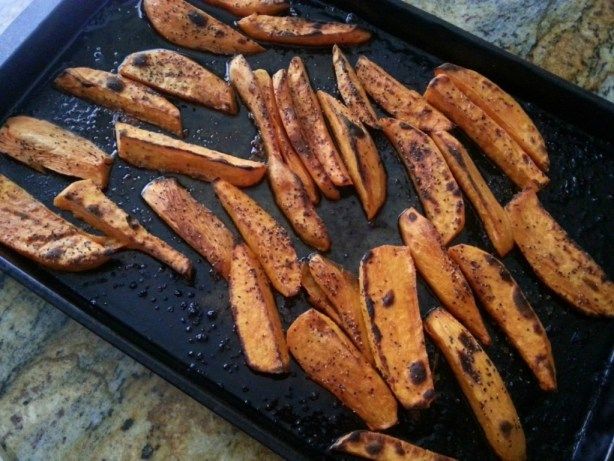 Sweet Potato Fries out of the oven