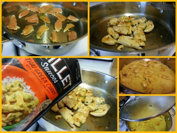 Thai Green Curry cooking process using Campbells Skillet Sauce #dinnersauces
