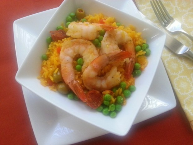 Easy Shrimp Paella for Fat Tuesday #ABRecipes